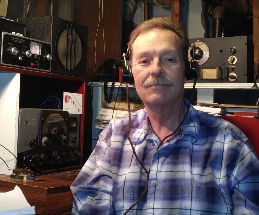 Amateur radio operator Martin Crabtree, W3PR, and his shack in 2019.  Photo courtesy Martin Crabtree.